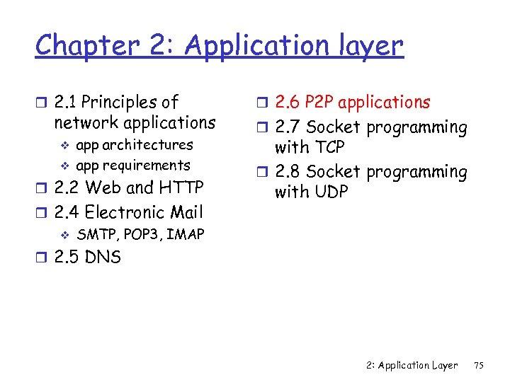 Chapter 2: Application layer r 2. 1 Principles of network applications v v app