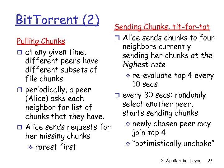 Bit. Torrent (2) Sending Chunks: tit-for-tat r Alice sends chunks to four Pulling Chunks