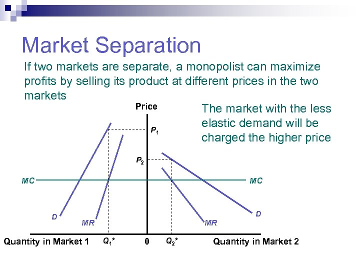 Market Separation If two markets are separate, a monopolist can maximize profits by selling