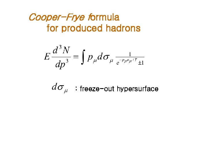 Cooper-Frye formula for produced hadrons : freeze-out hypersurface