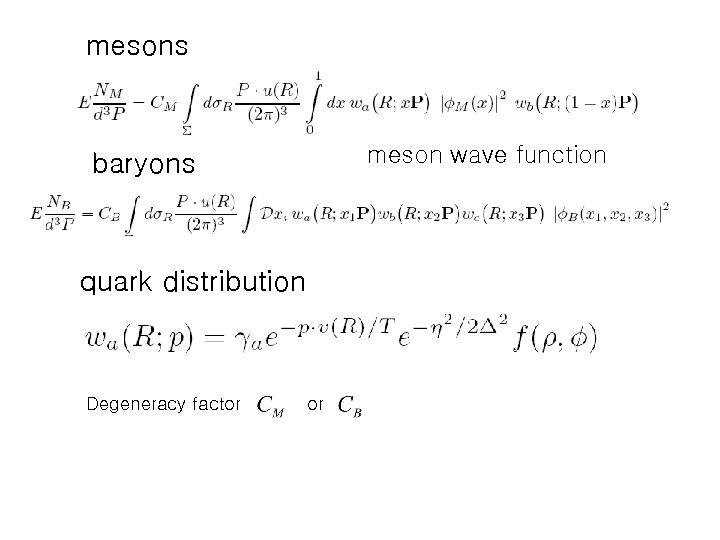 mesons meson wave function baryons quark distribution Degeneracy factor or