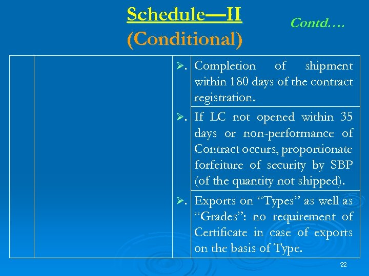 Schedule—II (Conditional) Contd…. Ø. Completion of shipment within 180 days of the contract registration.