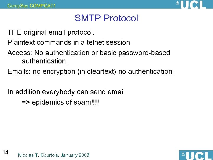 Comp. Sec COMPGA 01 SMTP Protocol THE original email protocol. Plaintext commands in a