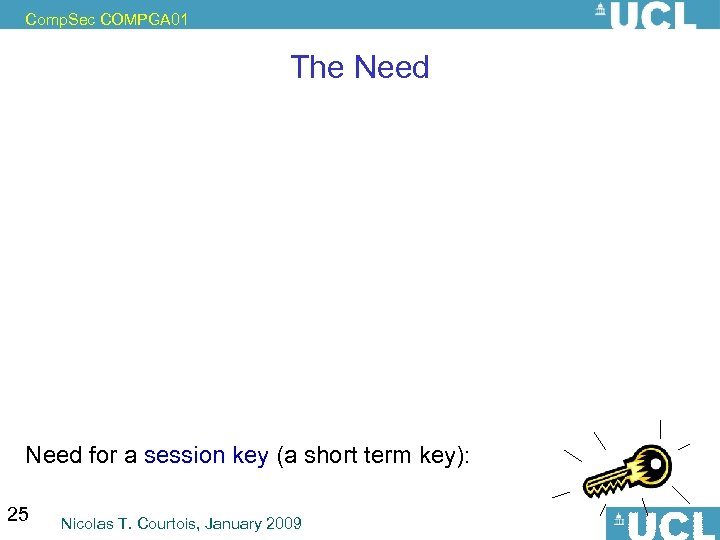 Comp. Sec COMPGA 01 The Need for a session key (a short term key):