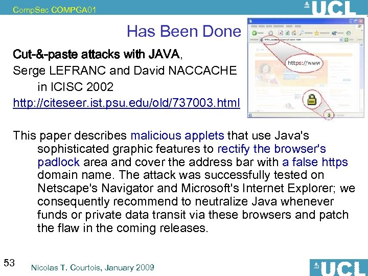 Comp. Sec COMPGA 01 Has Been Done Cut-&-paste attacks with JAVA, Serge LEFRANC and