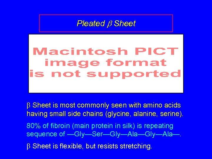 Pleated b Sheet is most commonly seen with amino acids having small side chains