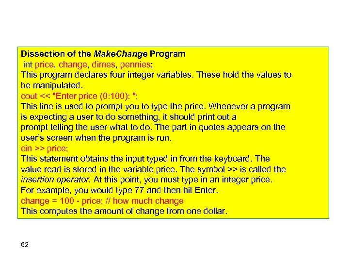 Dissection of the Make. Change Program int price, change, dimes, pennies; This program declares