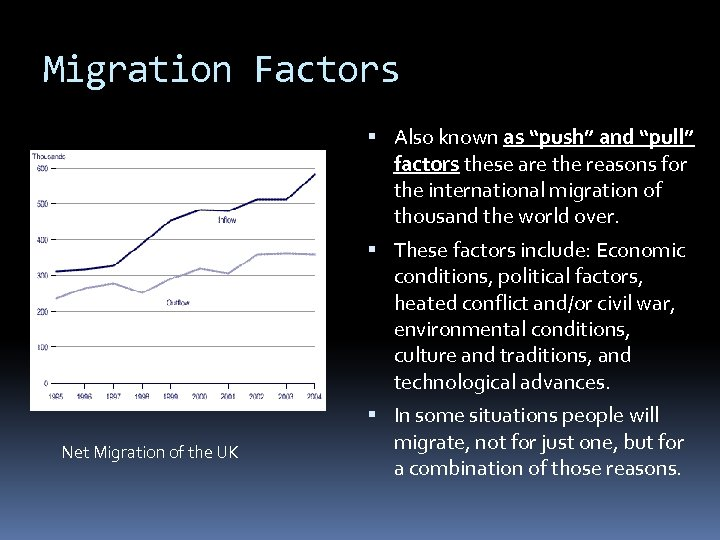 """Migration Factors Also known as """"push"""" and """"pull"""" factors these are the reasons for"""
