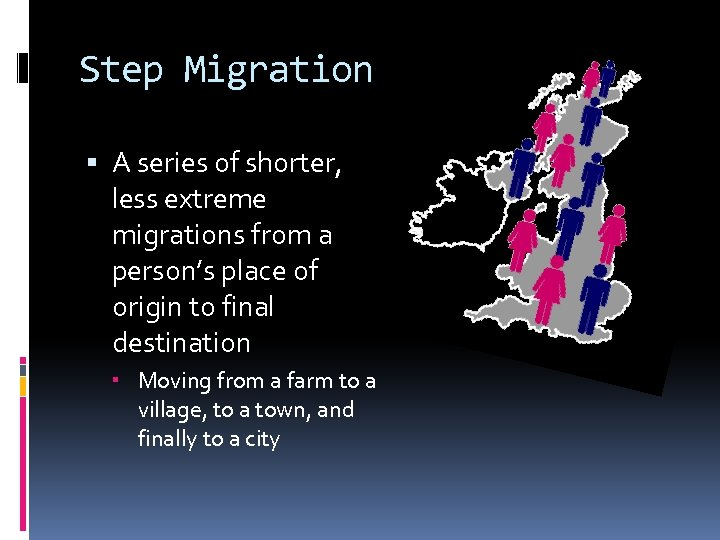 Step Migration A series of shorter, less extreme migrations from a person's place of