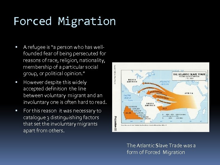 """Forced Migration A refugee is """"a person who has wellfounded fear of being persecuted"""