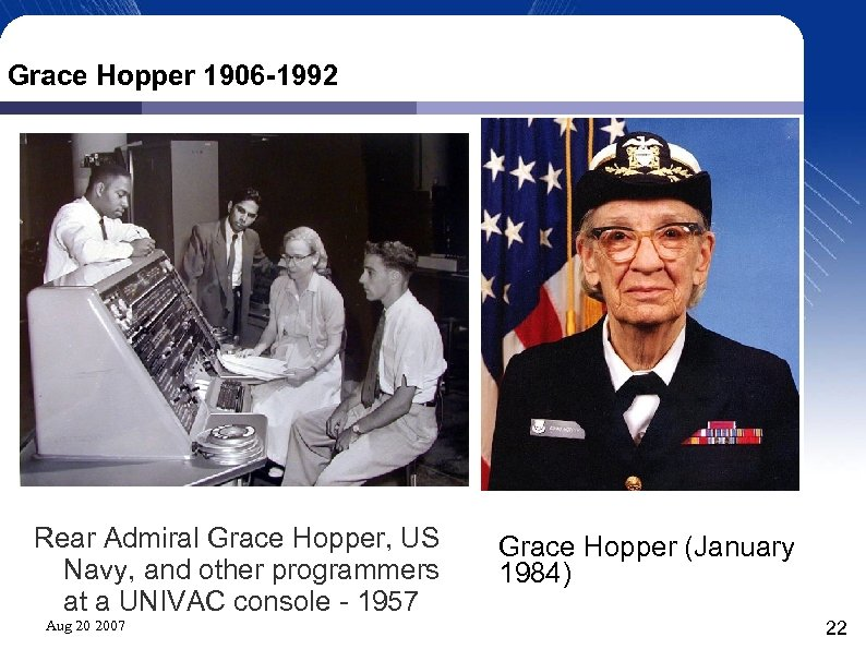 Grace Hopper 1906 -1992 Rear Admiral Grace Hopper, US Navy, and other programmers at