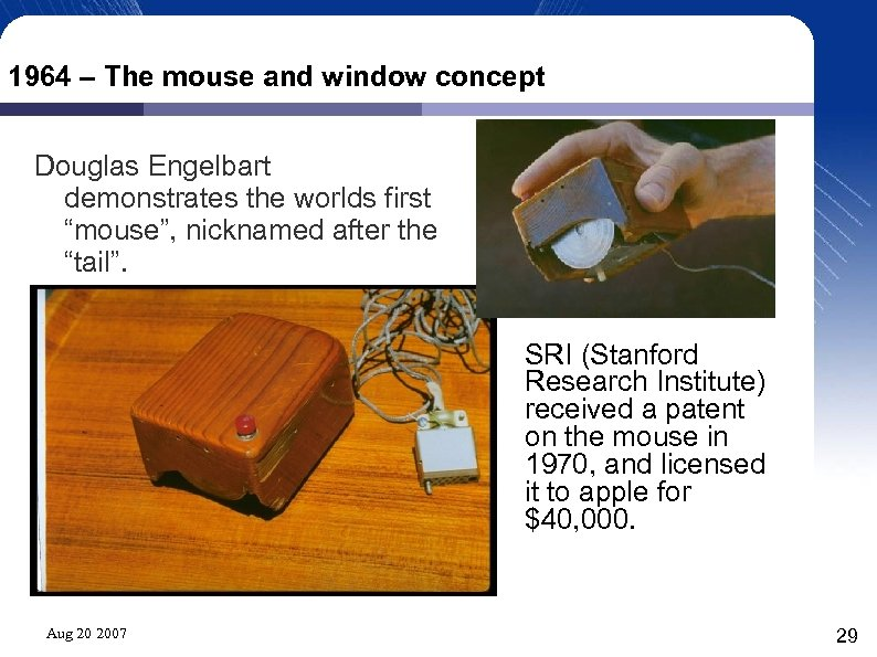 """1964 – The mouse and window concept Douglas Engelbart demonstrates the worlds first """"mouse"""","""
