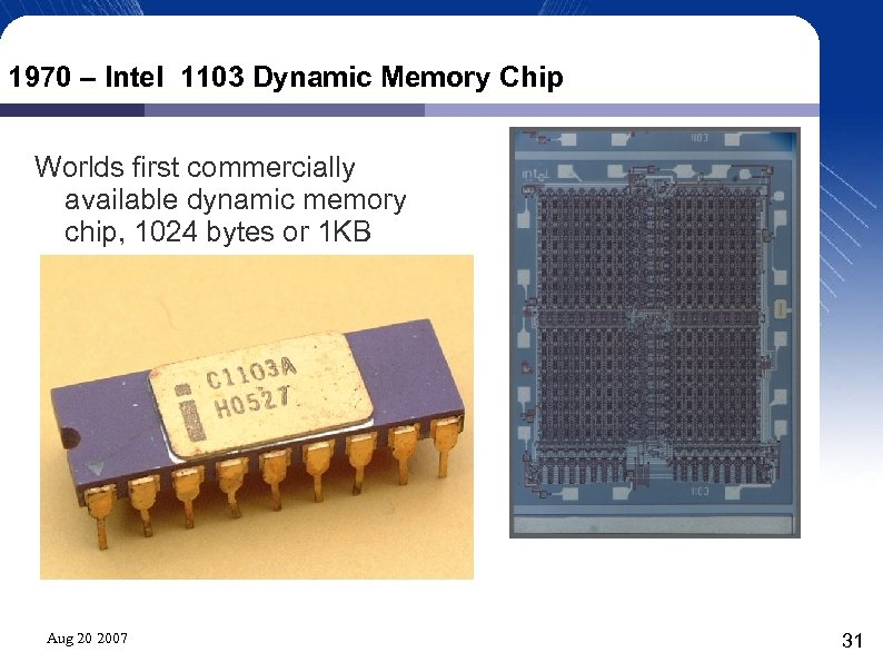 1970 – Intel 1103 Dynamic Memory Chip Worlds first commercially available dynamic memory chip,
