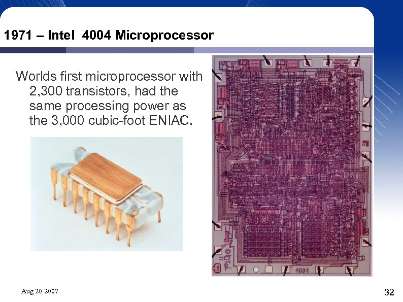 1971 – Intel 4004 Microprocessor Worlds first microprocessor with 2, 300 transistors, had the