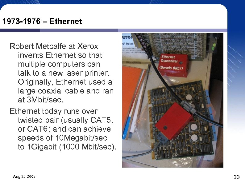 1973 -1976 – Ethernet Robert Metcalfe at Xerox invents Ethernet so that multiple computers