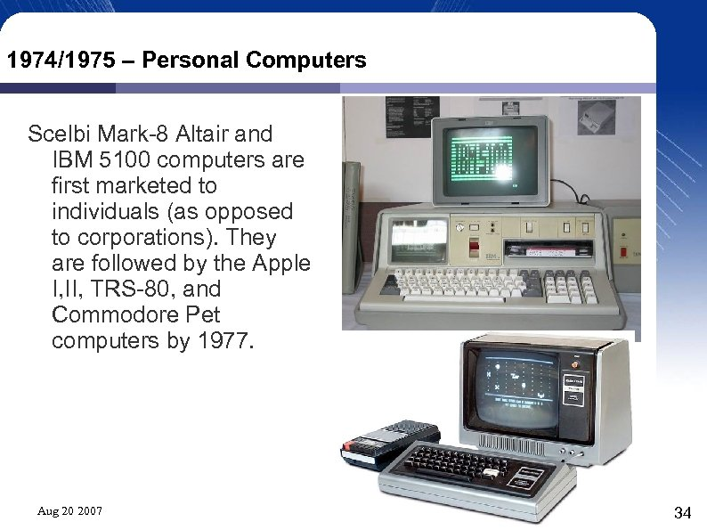 1974/1975 – Personal Computers Scelbi Mark-8 Altair and IBM 5100 computers are first marketed