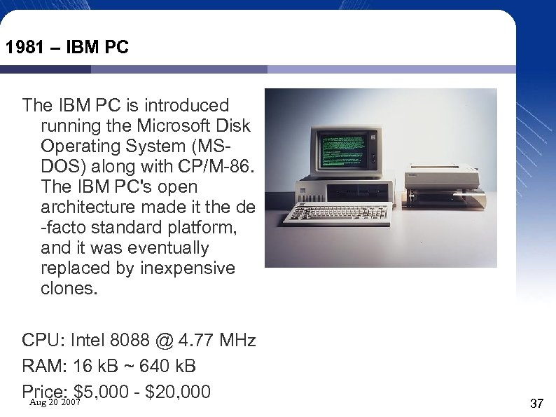 1981 – IBM PC The IBM PC is introduced running the Microsoft Disk Operating