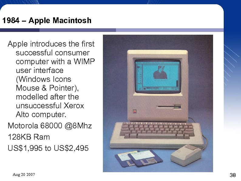 1984 – Apple Macintosh Apple introduces the first successful consumer computer with a WIMP