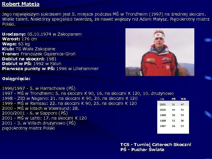 Robert Mateja Jego największym sukcesem jest 5. miejsce podczas MŚ w Trondheim (1997) na