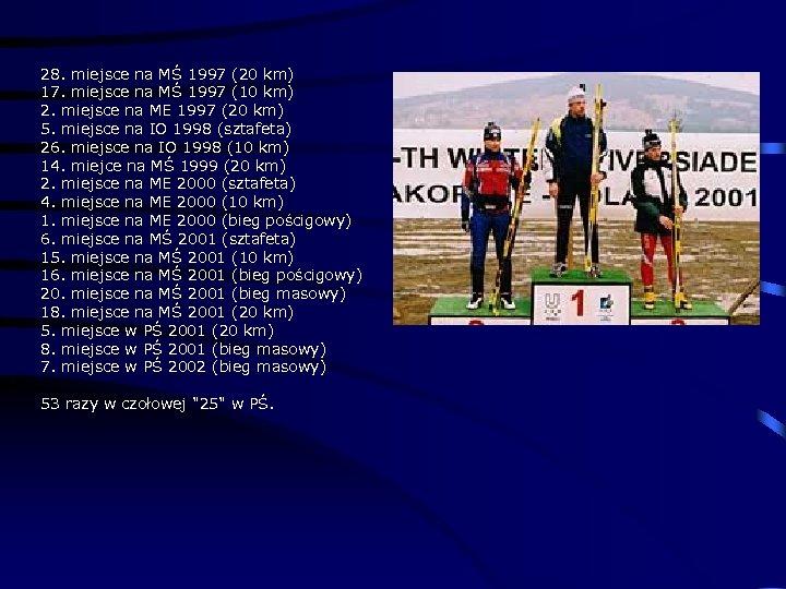 28. miejsce na MŚ 1997 (20 km) 17. miejsce na MŚ 1997 (10 km)