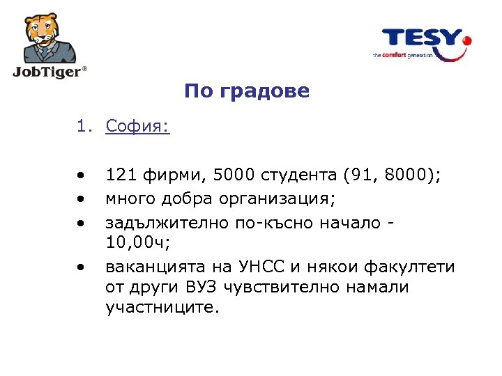 По градове 1. София: • • 121 фирми, 5000 студента (91, 8000); много добра