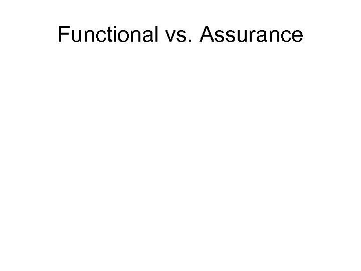 Functional vs. Assurance