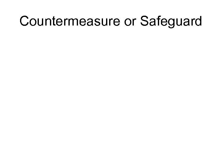 Countermeasure or Safeguard