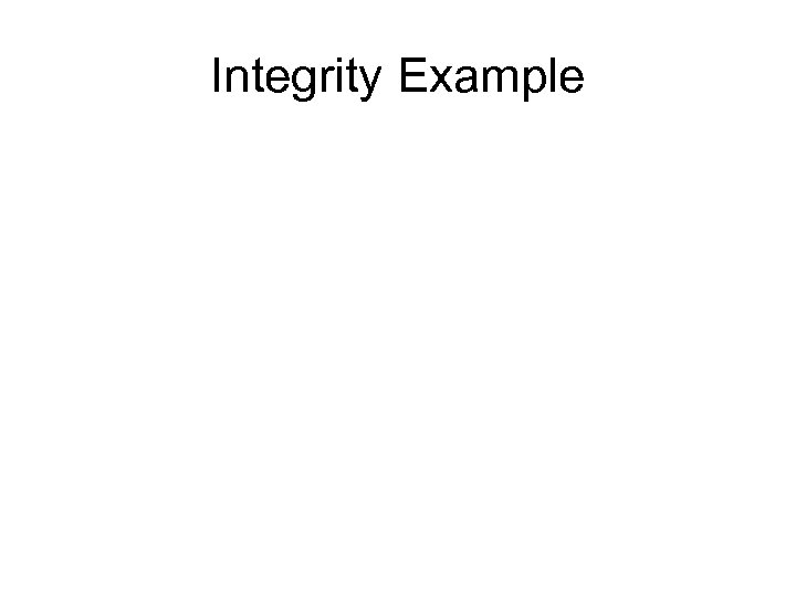 Integrity Example