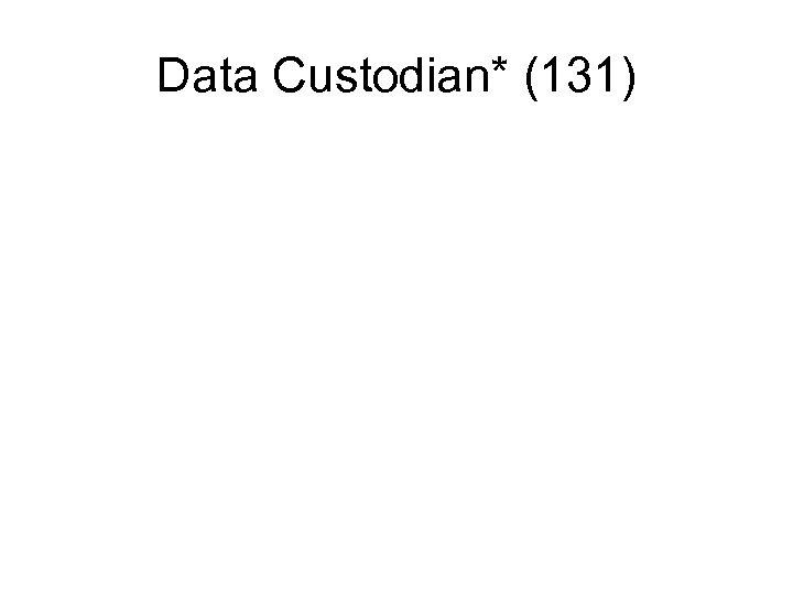 Data Custodian* (131)