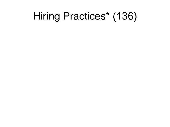 Hiring Practices* (136)