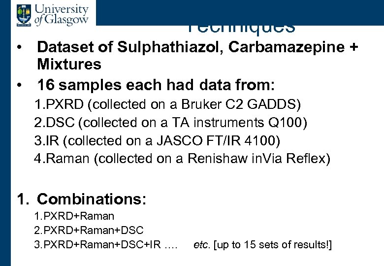 Example: Combining Four Techniques • Dataset of Sulphathiazol, Carbamazepine + Mixtures • 16 samples