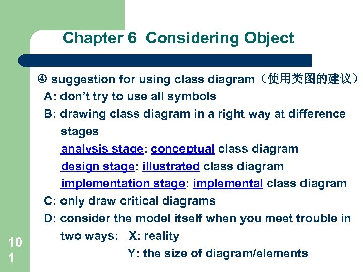 Chapter 6 Considering Object 10 1 suggestion for using class diagram(使用类图的建议) A: don't try