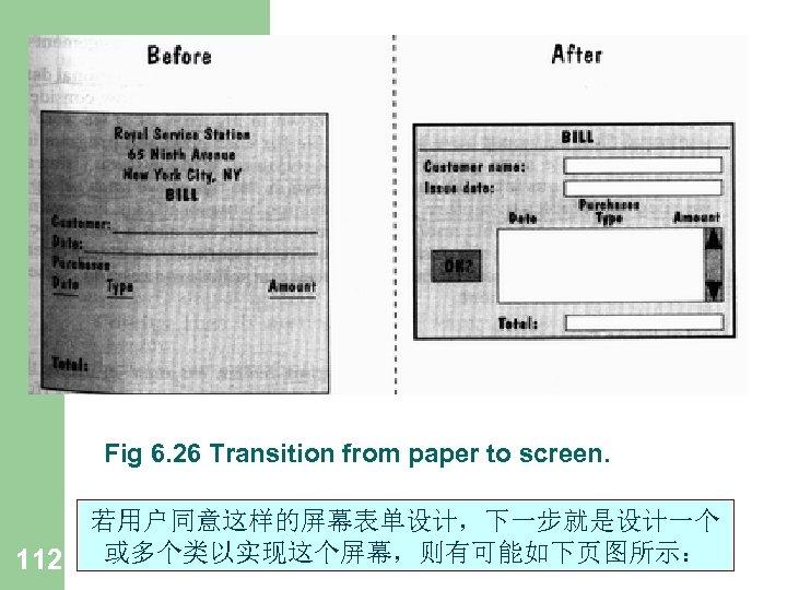 Fig 6. 26 Transition from paper to screen. 112 若用户同意这样的屏幕表单设计,下一步就是设计一个 或多个类以实现这个屏幕,则有可能如下页图所示: