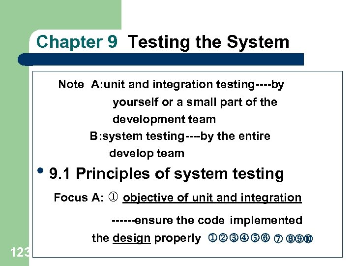 Chapter 9 Testing the System Note A: unit and integration testing----by yourself or a