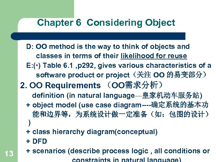 Chapter 6 Considering Object D: OO method is the way to think of objects