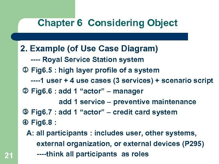Chapter 6 Considering Object 2. Example (of Use Case Diagram) 21 ---- Royal Service