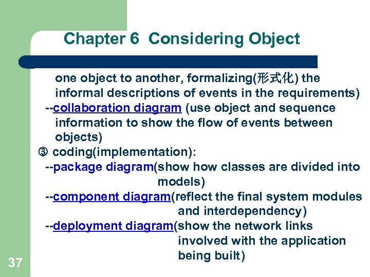 Chapter 6 Considering Object 37 one object to another, formalizing(形式化) the informal descriptions of