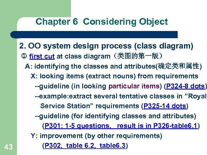 Chapter 6 Considering Object 2. OO system design process (class diagram) 43 first cut