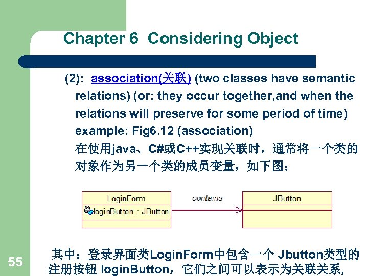 Chapter 6 Considering Object (2): association(关联) (two classes have semantic relations) (or: they occur