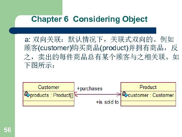 Chapter 6 Considering Object a: 双向关联:默认情况下,关联式双向的。例如 顾客(customer)购买商品(product)并拥有商品,反 之,卖出的每件商品总有某个顾客与之相关联。如 下图所示: 56