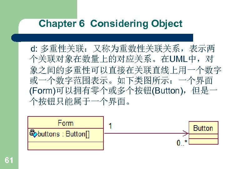 Chapter 6 Considering Object d: 多重性关联:又称为重数性关联关系,表示两 个关联对象在数量上的对应关系。在UML中,对 象之间的多重性可以直接在关联直线上用一个数字 或一个数字范围表示。如下类图所示:一个界面 (Form)可以拥有零个或多个按钮(Button),但是一 个按钮只能属于一个界面。 61