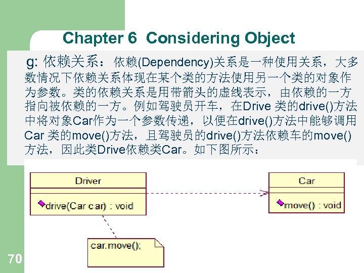 Chapter 6 Considering Object g: 依赖关系:依赖(Dependency)关系是一种使用关系,大多 数情况下依赖关系体现在某个类的方法使用另一个类的对象作 为参数。类的依赖关系是用带箭头的虚线表示,由依赖的一方 指向被依赖的一方。例如驾驶员开车,在Drive 类的drive()方法 中将对象Car作为一个参数传递,以便在drive()方法中能够调用 Car 类的move()方法,且驾驶员的drive()方法依赖车的move() 方法,因此类Drive依赖类Car。如下图所示: