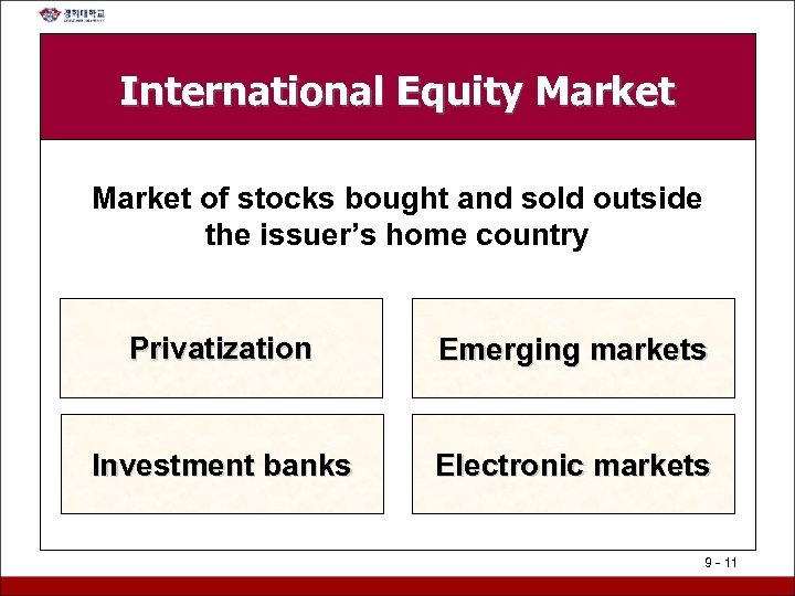 International Equity Market of stocks bought and sold outside the issuer's home country Privatization