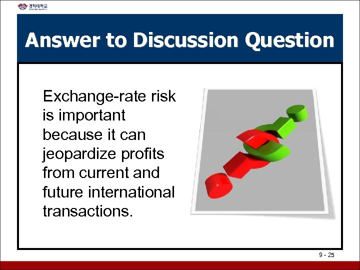 Answer to Discussion Question Exchange-rate risk is important because it can jeopardize profits from