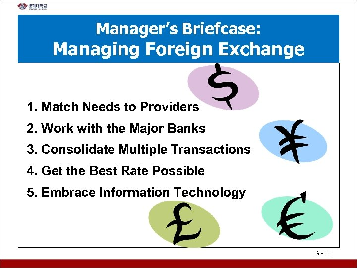 Manager's Briefcase: Managing Foreign Exchange 1. Match Needs to Providers 2. Work with the
