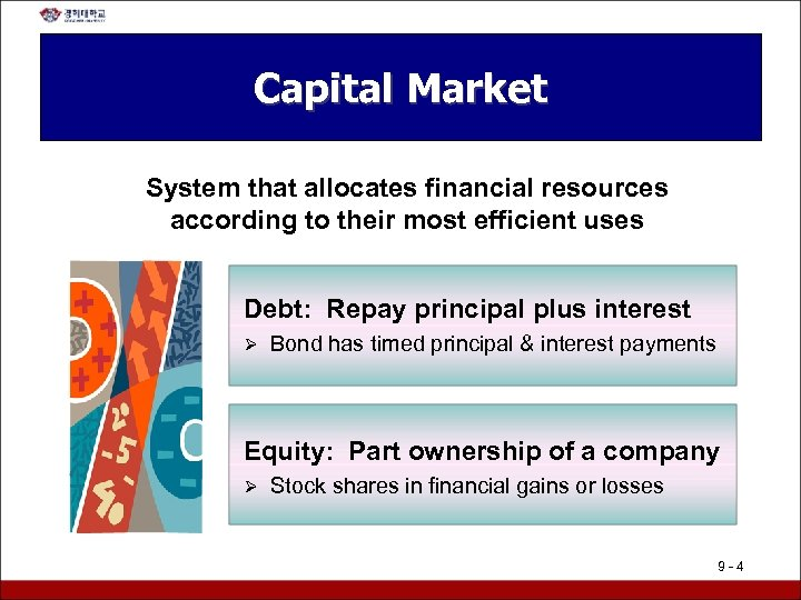 Capital Market System that allocates financial resources according to their most efficient uses Debt: