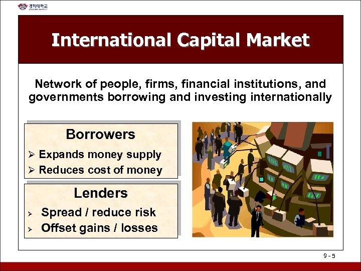 International Capital Market Network of people, firms, financial institutions, and governments borrowing and investing