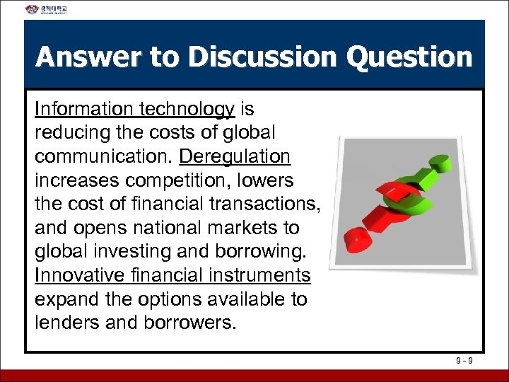 Answer to Discussion Question Information technology is reducing the costs of global communication. Deregulation