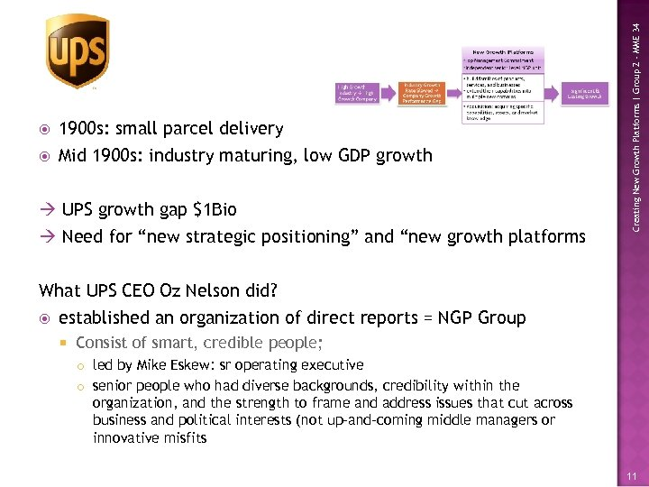 1900 s: small parcel delivery Mid 1900 s: industry maturing, low GDP growth