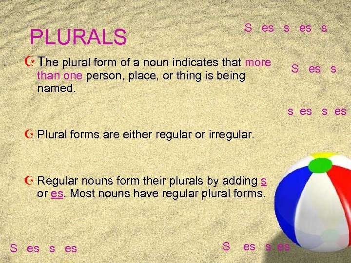 S es s PLURALS Z The plural form of a noun indicates that more